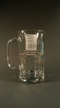 Logo engraved on a 16 oz beer mug, this style is a reverse cut, this is engraved by hand one at a time in the USA Engraved Beer Mugs, Logo, Usa, Glasses, Drinks, Tableware, Style, Eyewear, Drinking