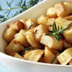 Rosemary adds a bright note to the potatoes.