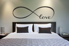 wall Covering For Bedroom - Love Infinity Symbol Bedroom Wall Decal Love Decor Love Bedroom Decor Home Decor Infinity Loop Wall Quote Vinyl Lettering. Wall Decals For Bedroom, Wall Stickers Home Decor, Bedroom Decor, Wall Decor, Bedroom Ideas, Decor Room, Diy Wall, Bedroom Wall Quotes, Decals For Walls