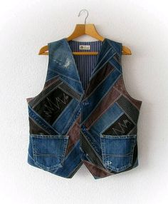 Upcycled denim unisex XXL waistcoat, OOAK designer recycled clothing, men's recycled denim vest, women's patchwork jean vest Upcycled Denim Unisex Weste recycelte Denim XXL Weste