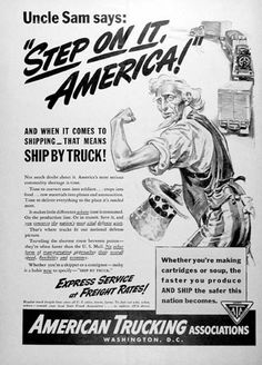 American Trucking Association advertisement for 1941 pointed to the importance of express shipping for the war effort.