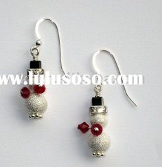 bead snowman Christmas earrings