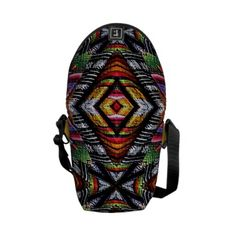 Eye catching black, yellow and red colors of Ecuador Kaleidoscope Design Mini Messenger Bag by Khoncepts ($56.95)