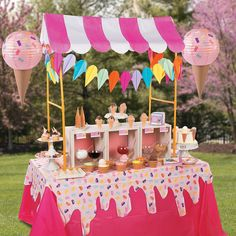 is the tent over the top....Ice Cream Party Tablescape Idea - OrientalTrading.com