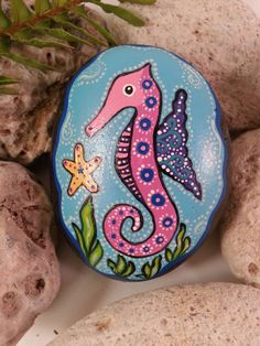 Pretty Little Seahorse Hand Painted Rock by CassisCorner on Etsy Turtle Painted Rocks, Painted Garden Rocks, Painted River Rocks, Painted Rocks Craft, Hand Painted Rocks, Seahorse Painting, Turtle Painting, Dot Painting, Painting For Kids