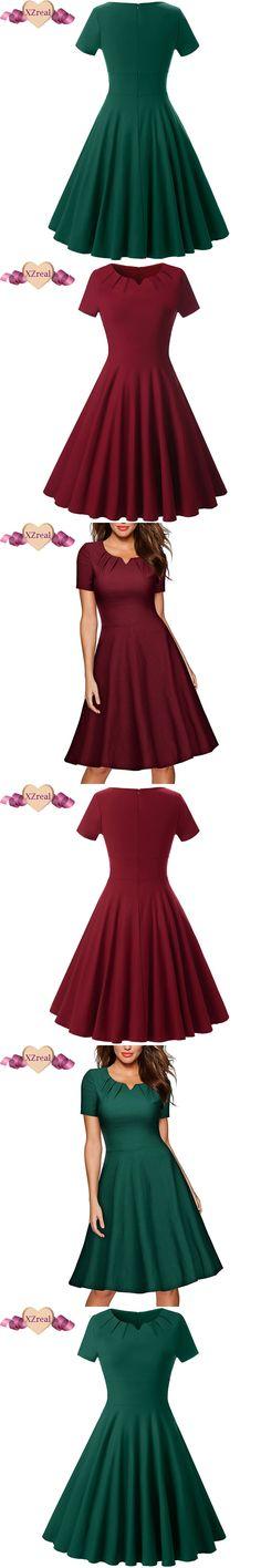 Women Summer Vintage Tunic Dress Female Robe Rockabilly Dresses Woman Casual Solid Short Sleeve Swing Dresses Vestido de festa