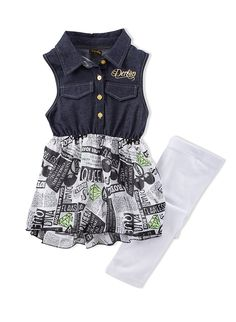 f872c6bde Girls Dereon Faux Denim and Printed Dress with White Leggings Set |  Superstars should dress the