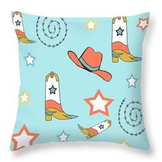 Cowboy Boots , Cowboy Hat And Barbed Wire In Blood Orange And Blue Throw Pillow by Irene Irene