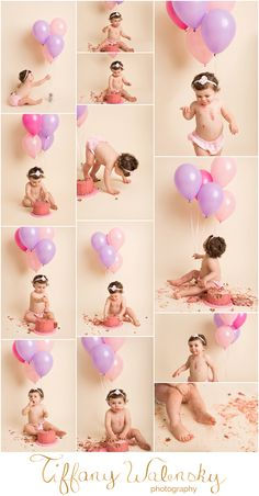 Nora's First Birthday Cakesmash, Tampa Baby Photographer, Tiffany Walensky Photography, Milestones, First year, babies, cake smash, balloons, pink purple yummy mess creative fun studio party setup poses ideas sweet girl ivory seamless paper backdrop Canon 5D Mark III http://tiffanywalensky.com/