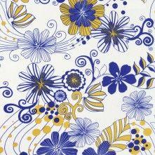 White/Cobalt/Mustard Floral Cotton Jersey Print  (moodfabrics)