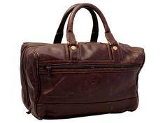 Vintage Brown Leather Handbag Top Handle Bag Purse by LarkandPip