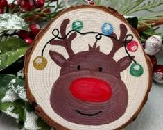 Wood slice ornament - Holiday wreaths christmas,Holiday crafts for kids to make,Holiday cookies christmas, Painted Christmas Ornaments, Christmas Crafts For Gifts, Christmas Projects, Christmas Art, Handmade Christmas, Christmas Decorations, Etsy Christmas, Wood Ornaments, Tree Decorations