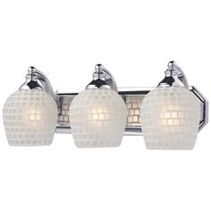 ELK 3-Light Vanity in Polished Chrome and White Mosaic Glass