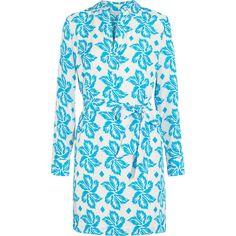Diane von Furstenberg Taffy printed silk crepe de chine dress ($250) ❤ liked on Polyvore featuring dresses, light blue, waist belt, loose fitting dresses, diane von furstenberg, blue waist belt and loose dress