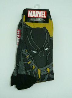 2b39575d7 2 Pairs Black Panther Men's Crew Socks Hyp Size 6-12 Mens Marvel Comics  Avengers