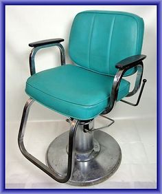 Harting Turquoise Vintage Salon Chair Studio Hair and Makeup Chair | eBay