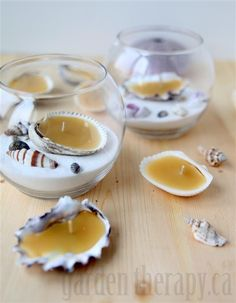 Beeswax Seashell Tealights  - could use candle wax that you melt in the microwave, get vases at the dollar store.