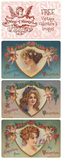 Wings of Whimsy: Vintage Valentine's Images - Ladies - free for personal use
