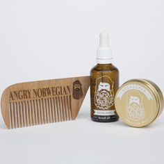 PRE-SALES: Oil, Wax and Wooden Comb Bundle - 50 ml / 50 ml via Angry Norwegian. Click on the image to see more!