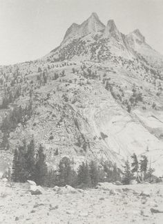 1920 Echo Peaks from the west [rocky flat area in foreground with a patch of pines and a rocky mountain with four peaks beyond] by Ansel Adams 90.53.24