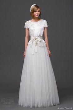 alberta ferretti bridal 2015 short sleeve wedding dress talita