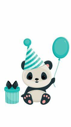 Illustration about Birthday panda with gift box and balloon. Panda in blue. Illustration of isolated, blue, illustration - 41050429 Panda Birthday Party, Panda Party, Niedlicher Panda, Panda Love, Panda Kindergarten, Happy Birthday Google, Panda Mignon, Cute Panda Wallpaper, Panda Nursery