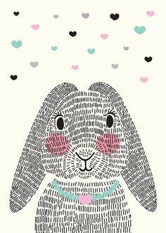 bunny rabbit with repeating line texture Illustration Mignonne, Cute Illustration, Lapin Art, Bunny Art, Kawaii, Art Plastique, Easter Crafts, Nursery Art, Art Lessons