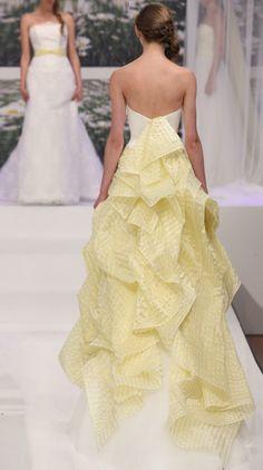 Breda - Emé di Emé 2013 Collection White Wedding Gowns, Stunning Wedding Dresses, Orange Wedding, Gold Wedding, Wedding Day, Mellow Yellow, Divas, Mustard, One Shoulder Wedding Dress