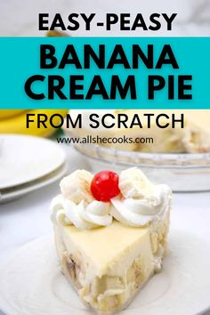 This old fashioned Banana Cream Pie might be the best dessert recipe on the internet! It's made from scratch with real ingredients including fresh bananas and cream, and a homemade pie crust. And you won't believe how easy it is to make! Check out the recipe video, with step-by-step instructions.  #dessert #pie #bananacreampie Banana Cream Pie   Easy Dessert   Made from Scratch   Homemade Pie