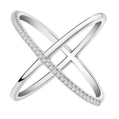Criss Cross Ring - X Ring - Micro Pave X Ring Gorgeous Criss Cross Ring Sterling Silver metal 3 layer Platinum Plated with grade AAA stones high shine finish.                                             Available in multiple sizes. Barco Jewels Jewelry Rings