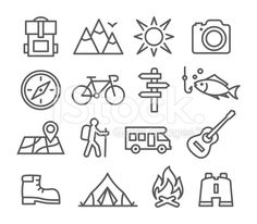 Camping line icons royalty-free stock vector art