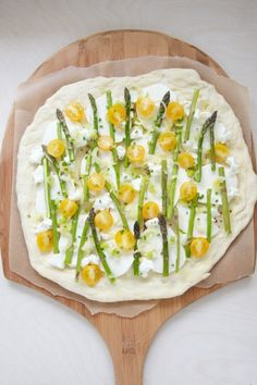 Spring Pizza with Asparagus, Cherry Tomatoes and Spring Onion Recipe