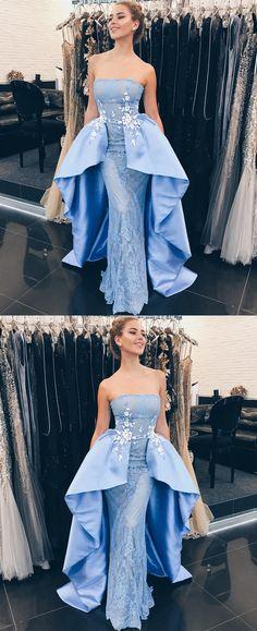 modest light blue strapless prom dresses, unique satin mermaid party dresses with lace, elegant detachable evening gowns with appliques