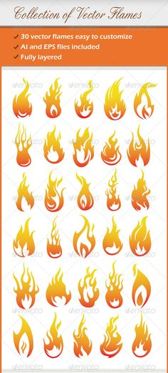 Collection Of Vector Flames — Vector EPS #ai #shape • Available here → https://graphicriver.net/item/collection-of-vector-flames/1780255?ref=pxcr