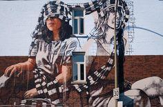 street art Work in progress by Fintan Magee in Montreal for @muralfestival -