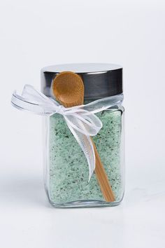 Wonderful!  Jasmine Green Tea scented sea salt soak.  A delightful gift.  Etsy shop, Gwenshomemadegifts.