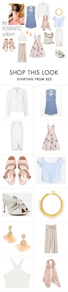 """the ROMANTIC uniform"" by dacostastylingstudios on Polyvore featuring Maje, Free People, River Island, Chi Chi, Miu Miu, Piel Leather, BaubleBar, MANGO, BCBGMAXAZRIA and Chan Luu"