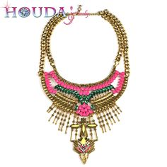HOUDA N00113 Wholesale 12 PCS Maxi Chain Multi layer Necklace Gold plated Statement Necklaces Alloy rhinestone Vintage Women