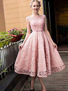 2017 Homecoming Dress Lace-up Bowknot Tea-length Short Prom Dress Party Dress JKS031