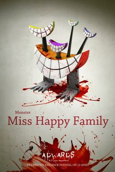 """""""Miss Happy Family"""" In Advert Posters, Clients Reimagined As Scary Monsters from my worst nightmares :D"""