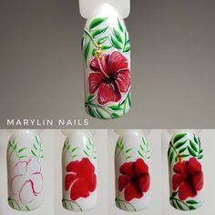 """Receive excellent pointers on """"nail paint ideas polish easy"""". They are on call for you on our internet site. Nail Art Tropical, Tropical Nail Designs, Tulip Nails, Flower Nails, Spring Nails, Summer Nails, Nail Art Designs, Nail Art Fleur, Flamingo Nails"""