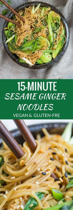 15 minute sesame ginger noodles Looking for a quick dinner? These sesame ginger noodles come together in less than 15 minutes. They're vegan, gluten-free, and loaded with bok-choy! (Gluten Free Recipes For Dinner) Vegan Foods, Vegan Dishes, Vegan Vegetarian, Vegetarian Asian Recipes, Gluten Free Japanese Recipes, Mexican Recipes, Recipes For Vegetarians, Gluten Free Lunch Ideas, Asian Food Recipes