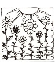 Drawing ideas on pinterest hand drawn printable adult for Sunset coloring pages for adults