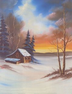 Bob Ross - a very typical Bob Ross painting. We love Bob Ross! Would LOVE to try something like this with Zachary Watercolor Landscape, Landscape Art, Landscape Paintings, Bob Ross Landscape, Pictures To Paint, Art Pictures, Peintures Bob Ross, Bob Ross Art, The Joy Of Painting