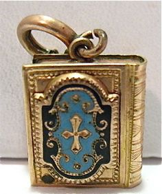 ANTIQUE GOLD FLLED ENAMEL BOOK LOCKET SEALED CHARM FOB