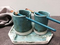 Artists Brush Holder & Water Cups - Painting set - Handmade Artisan Pottery - Turquoise Glazed - Paint Brush Holder Set with Tray - Ceramics