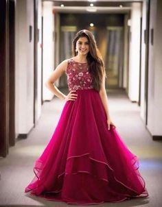 indian gowns dresses Buy Deep Pink Color Gown by Akanksha Singh at Fresh Look Fashion Indian Wedding Gowns, Indian Gowns Dresses, Indian Fashion Dresses, Dress Indian Style, Indian Designer Outfits, Designer Gowns, Wedding Dress, Indian Party Wear Gowns, Designer Bridal Lehenga