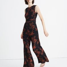 Madewell x No. 6 Silk Isabella Jumpsuit in Etched Floral $175