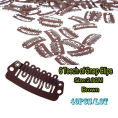 28mm Wig Clips Brown Hair Clip Metal Snap Clip For Hair Extension Weft Hair Clips
