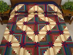 Colorado Log Cabin Quilt -- outstanding cleverly made Amish Quilts from Lancaster LOVE the coloration in this